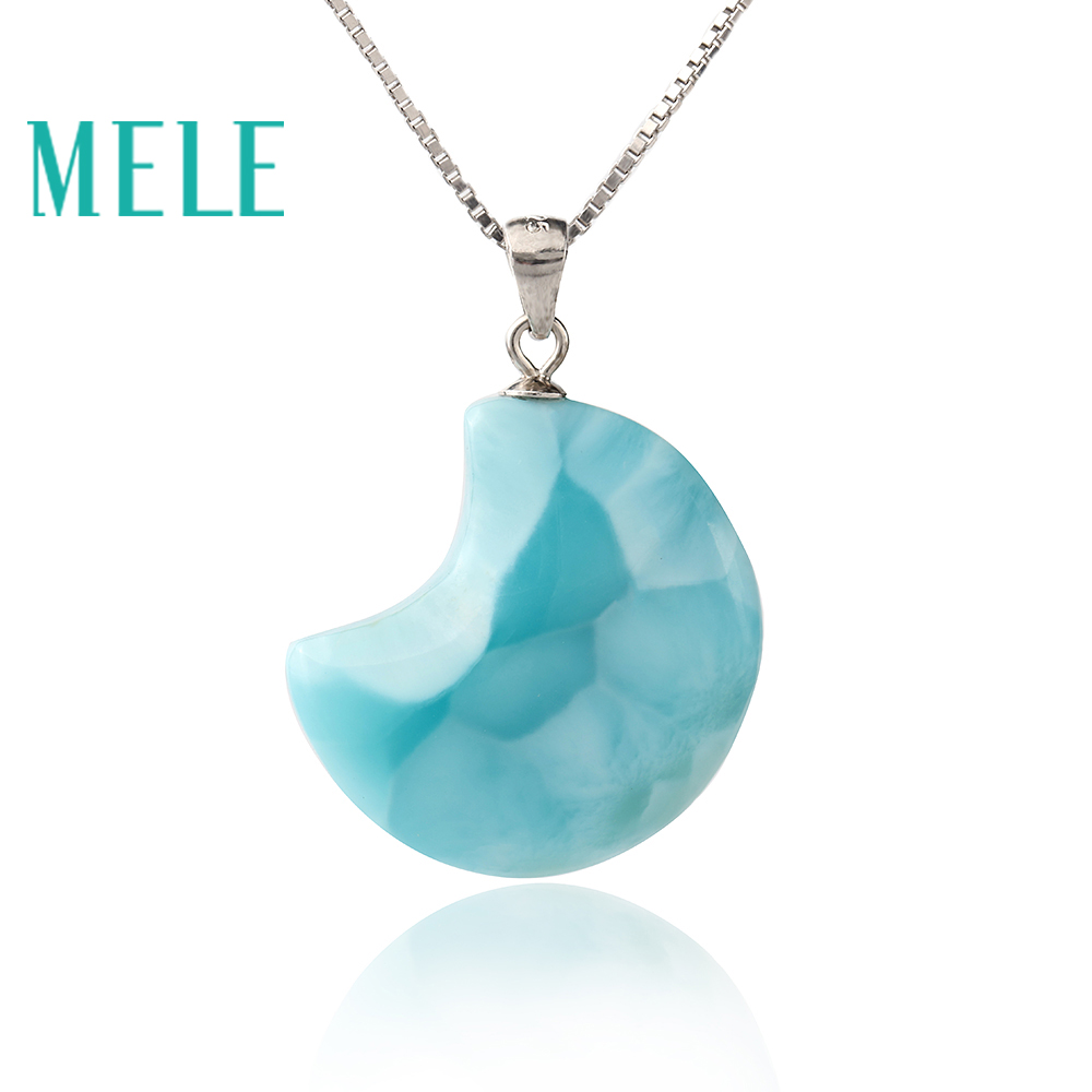 Natural larimar pendant 925 silver for women and girl,moon shape blue color fine jewelry best gift