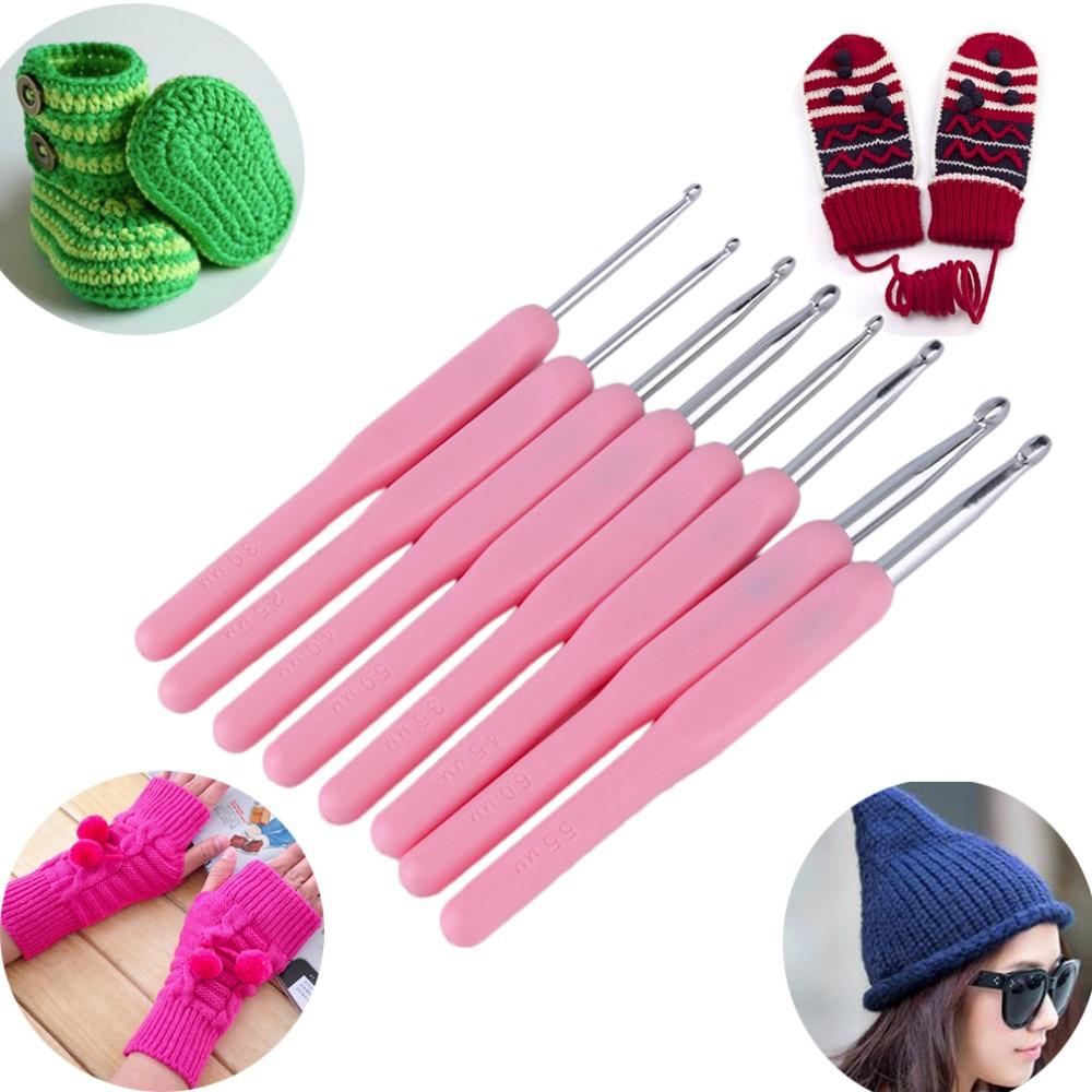 Knitting Needle Size 8 : Size soft plastic handle multicolor knitting needles