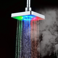 7 Colors Automatic Changing 6 inch Square Bathroom LED Light Rain Top Shower Head