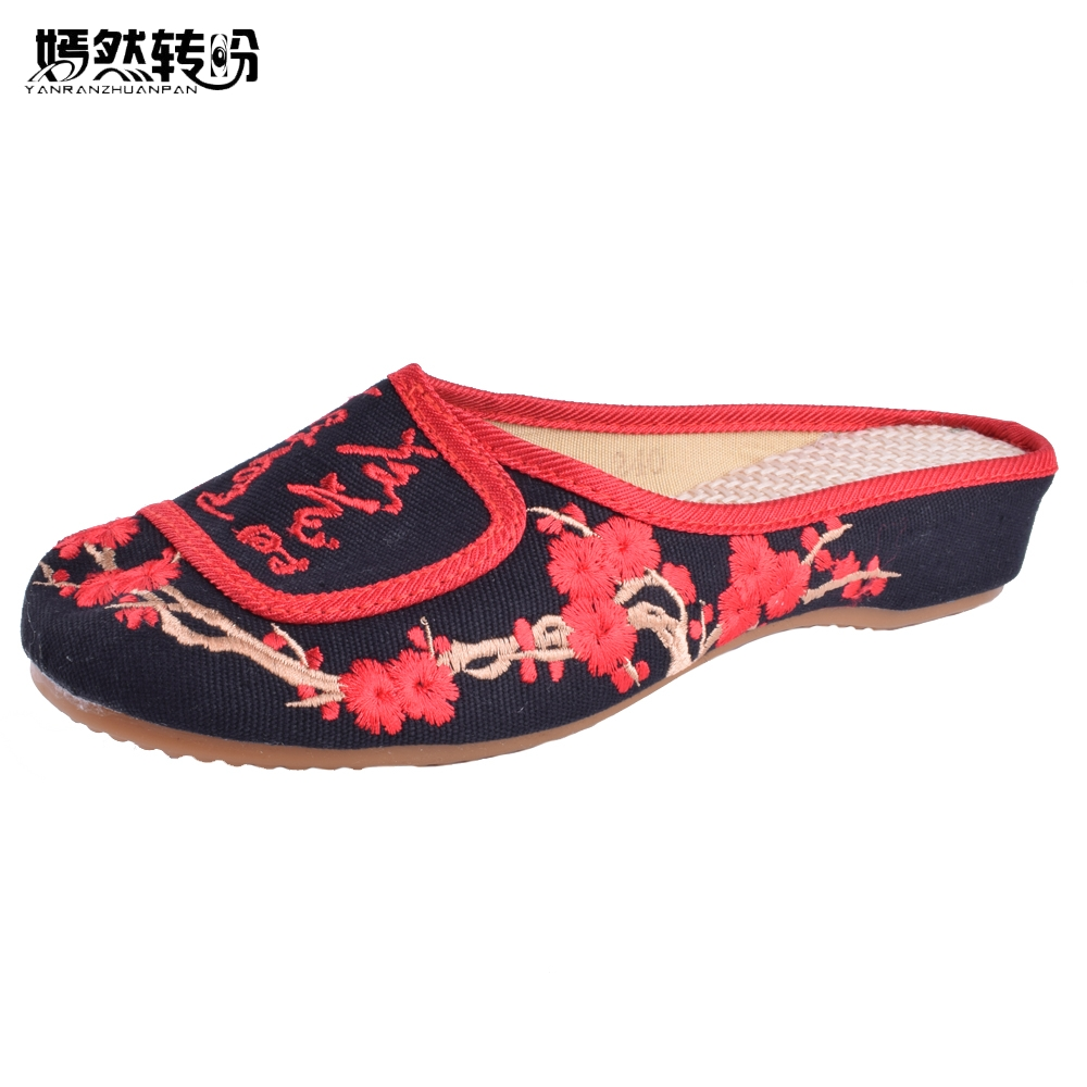 New Arrive Embroidery Slippers Embroidered Chinese Characters Word Women Soft Cloth Canvas Leisure Sandals Plus Size 41