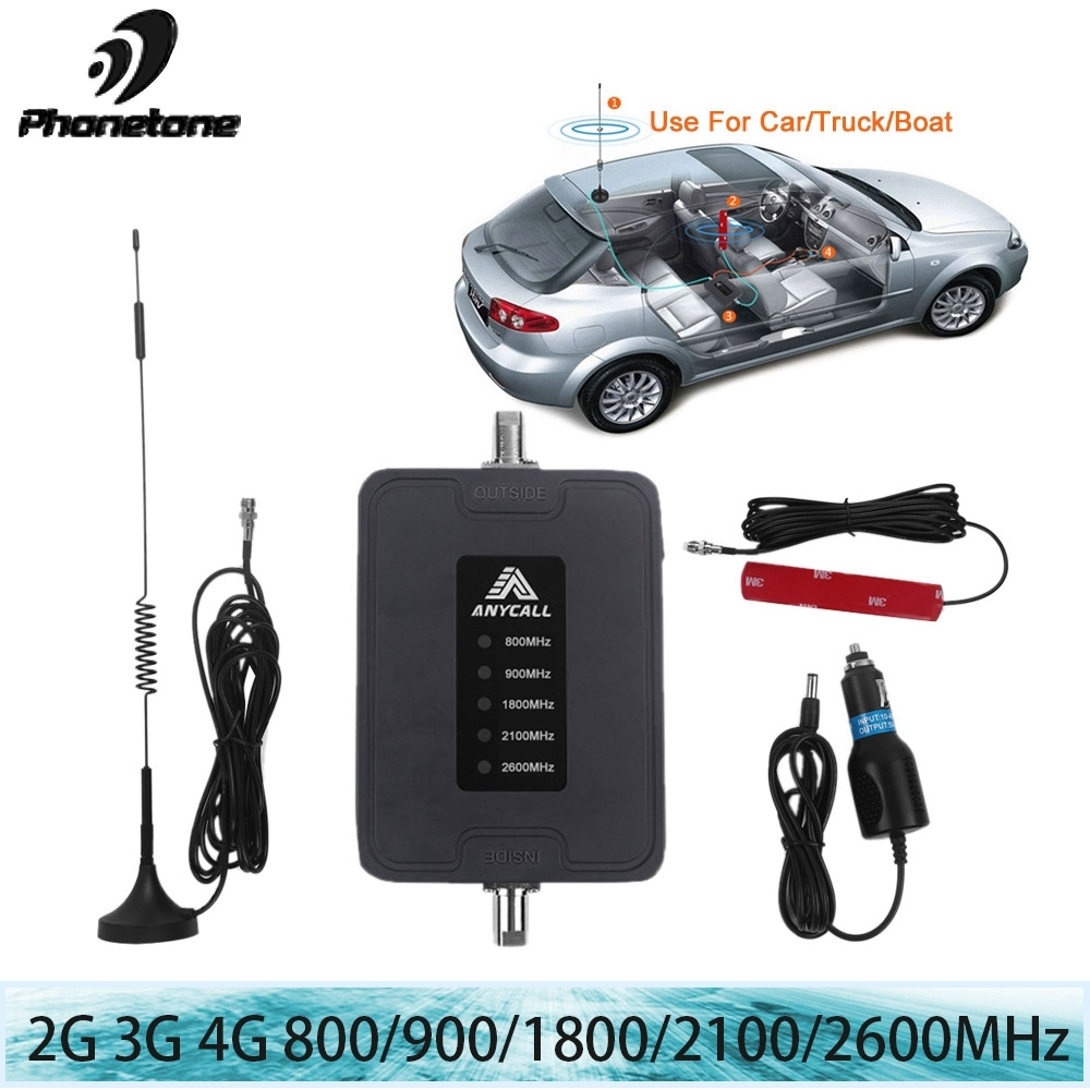Mobile téléphone portable Signal Booster 800/900/1800/2100/2600 MHz 2G 3G 4G LTE 5 Bande 45dB Gain Cellulaire Répéteur Amplificateur pour la voiture utiliser