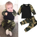 Moda Bebê Menino Camuflagem Conjunto de Roupas Meninos Filhos de Algodão Tops T-shirt + Calças Roupa Do Bebê Recém-nascido Roupas Definir 2 pcs