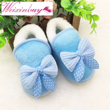 WEIXINBUY Cute Infant Girls Winter Warm Bow Snow Shoes Baby Soft Bottom Walker Crib Boots Toddler Booties
