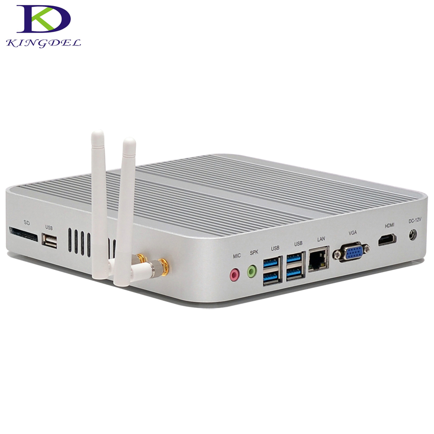 Fanless mini computer Core i3 6100U i5 6200U HTPC WiFi Windows 10 4K HDMI USB SD