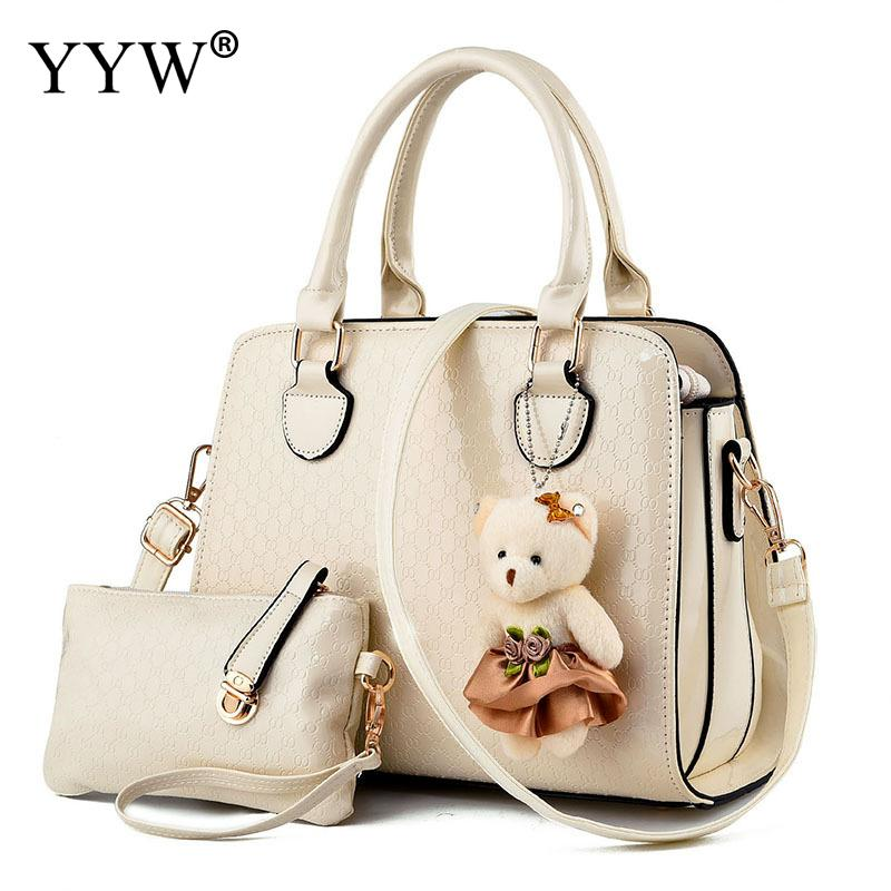 2 PCS/Set Solid Color PU Leather Handbags Women Bag Set Famous Brands Tote Bag with Doll Lady's Clutch Bags Fashion Womens'Pouch