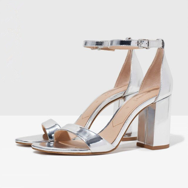 SS New Chic office lady simple sexy style women fashion sandals thick high heels shoes silver