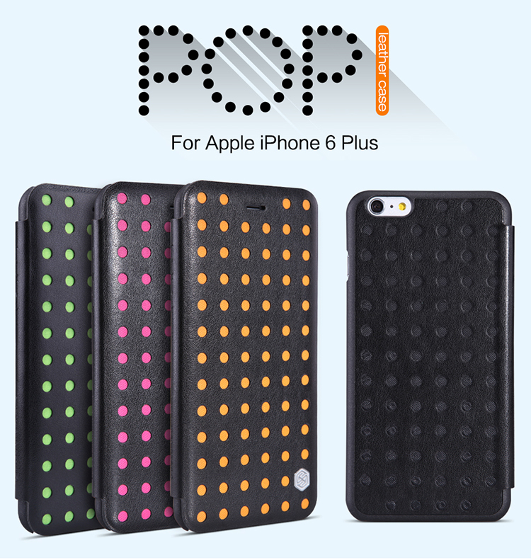 Original NILLKIN Popi Series Leather Flip Case for Apple iPhone 6 6S Plus Hollow-out Hit Color Case Cover with Card Slot Case