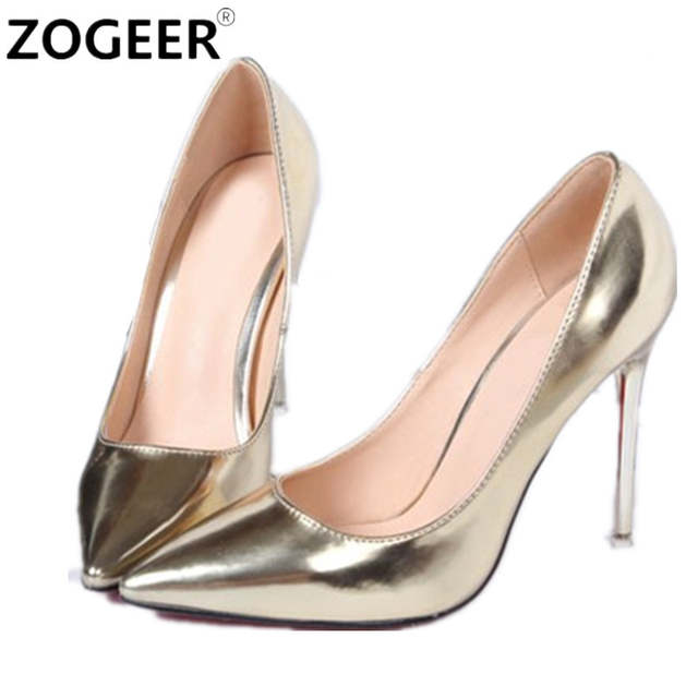 placeholder Hot 2019 Spring Autumn Women Pumps Sexy Gold Silver High Heels  Shoes Fashion Pointed Toe Wedding 315f34add795