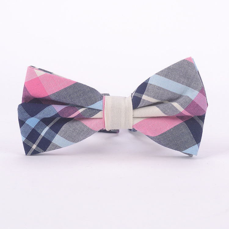 Top Cotton Bow Ties Fashion Lovely Green with Pink Plaid Personality Butterfly Men Bowties For Party 6