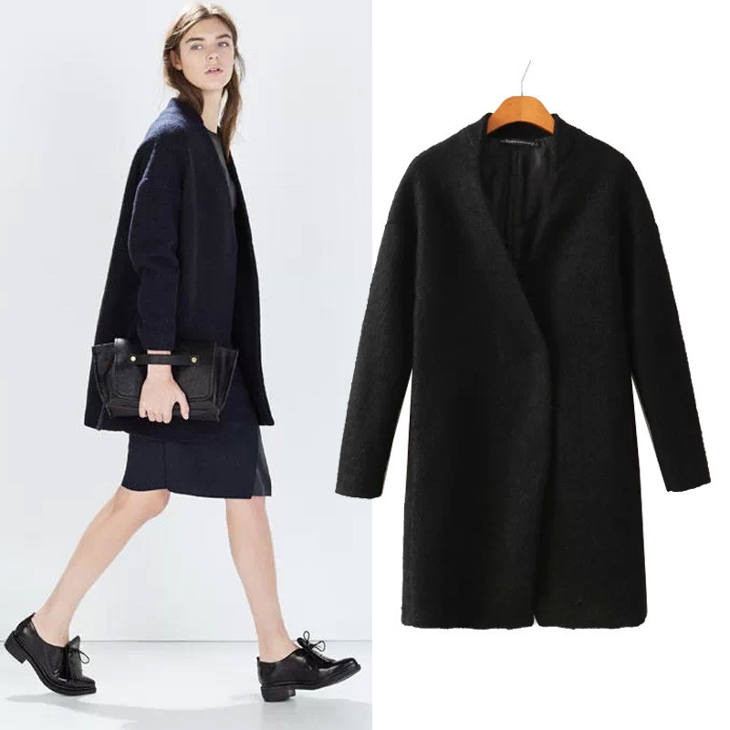 Black Wool Coat Womens Photo Album - Reikian