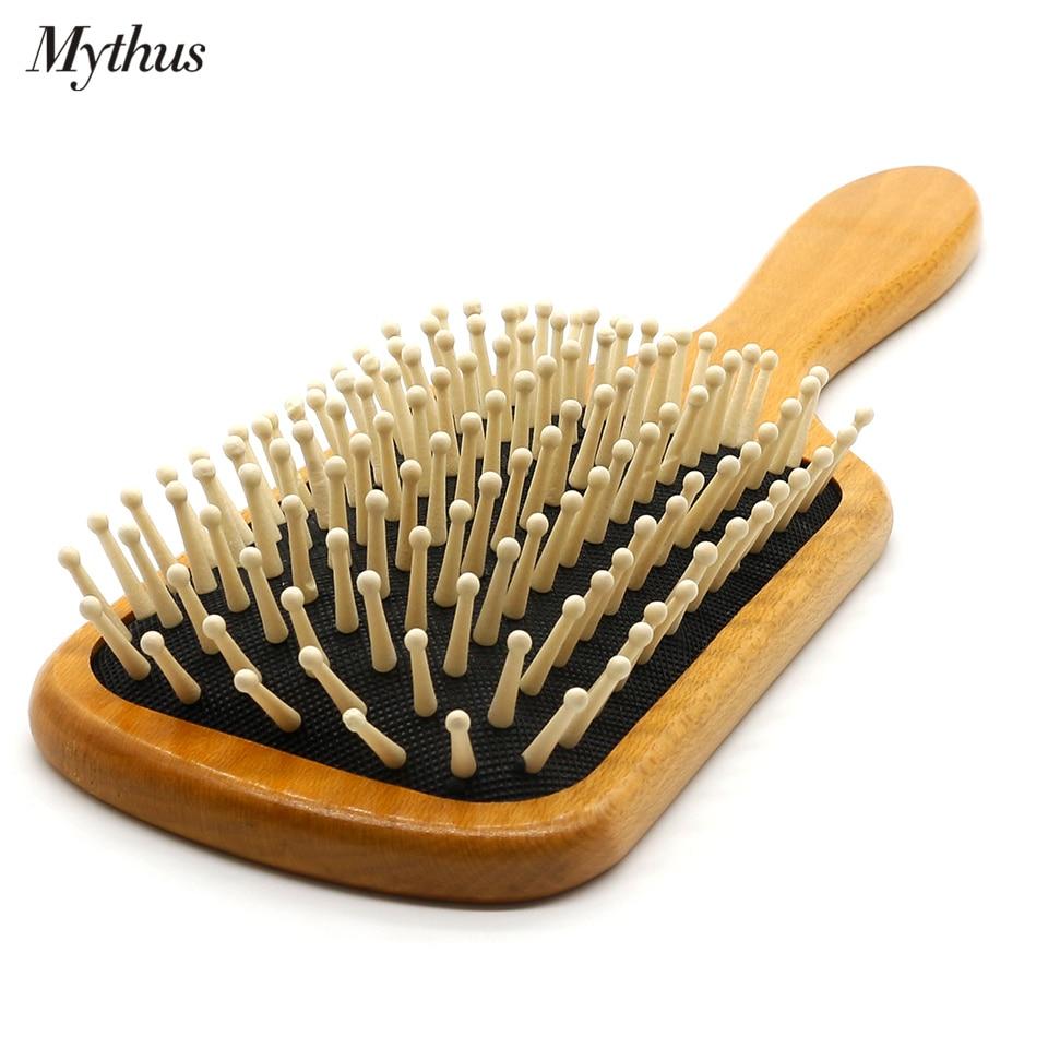Mythus lesena krtača za lase z zračno blazino Česten glavnik za masažo lasišča lasišča Detangle Ščetka v krogličnih nasvetih Orodja za pričesko