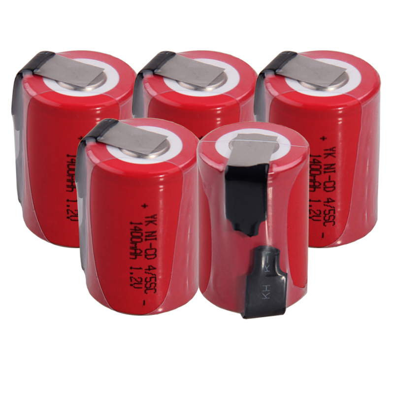 Real capacity 5 pcs 45SC battery 1.2v batteries rechargeable 1400mAh nicd battery akkumulator for power tools