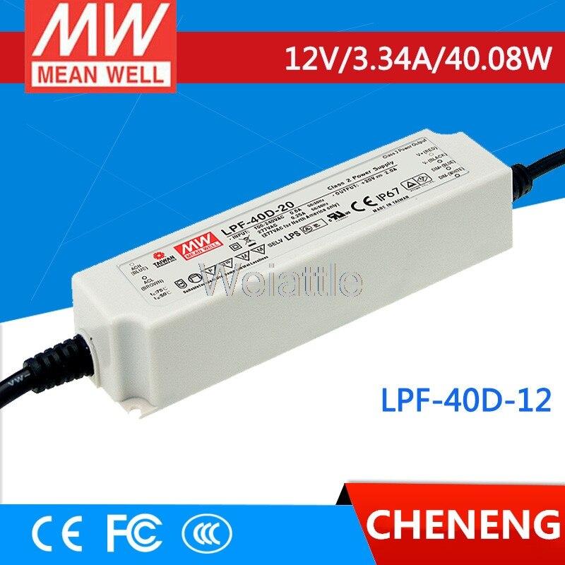 Moyenne bien original LPF-40D-12 12 V 3.34A meanwell LPF-40D 12 V 40.08 W unique sortie commutateur de courant LED