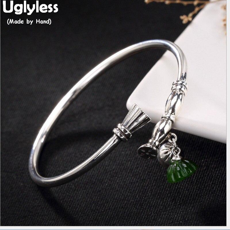 Uglyless 100% véritable solide 925 argent Sterling asiatique ethnique Lotus racines bracelets pour femmes Jade Lotus bracelets à breloques bijoux fins