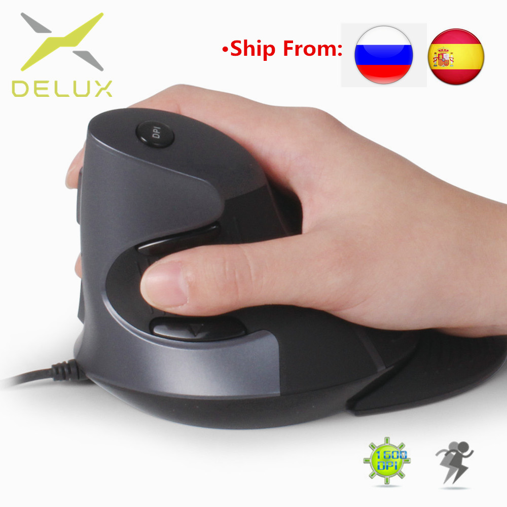 Delux M618 Ergonomic Office Vertical Wired Mouse 6 Buttons 600/1000/1600 DPI Optical Right Hand Mice With Wrist Mat For Computer