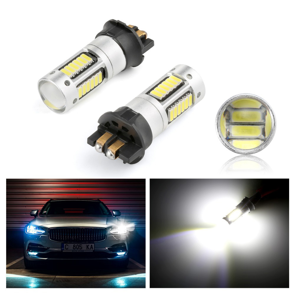 2pcs DRL Daytime Running Lights Canbus PW24W <font><b>PWY24W</b></font> LED Light Bulbs For Audi BMW Volkswagen Turn Signal Lights 12V White yellow image