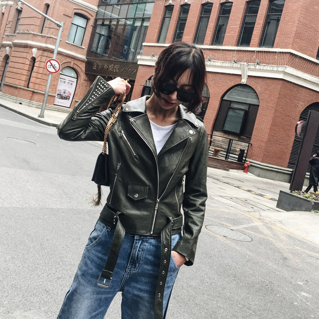 354483704843 M&B vintage real sheepskin Genuine Leather army green biker motorcycle  bomber jacket 2017 women basic coats fashion