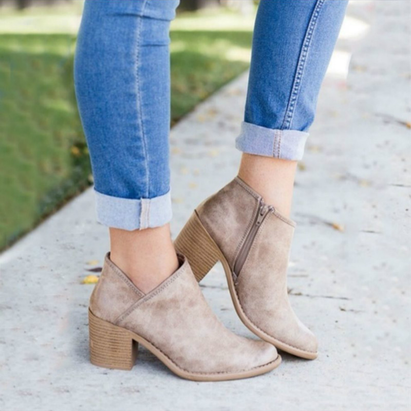 2019 Chic Autumn Women Shoes Retro High <font><b>Heel</b></font> <font><b>Ankle</b></font> <font><b>Boots</b></font> Female <font><b>Block</b></font> Mid <font><b>Heels</b></font> Casual Botas Mujer Booties Feminina Plus Size 43 image