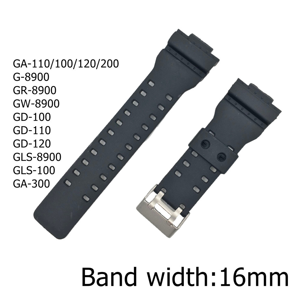16mm Silicone Watchband for Casio G-Shock Black Rubber Diving Waterproof Replacement Bracelet Band Strap Watch Accessories