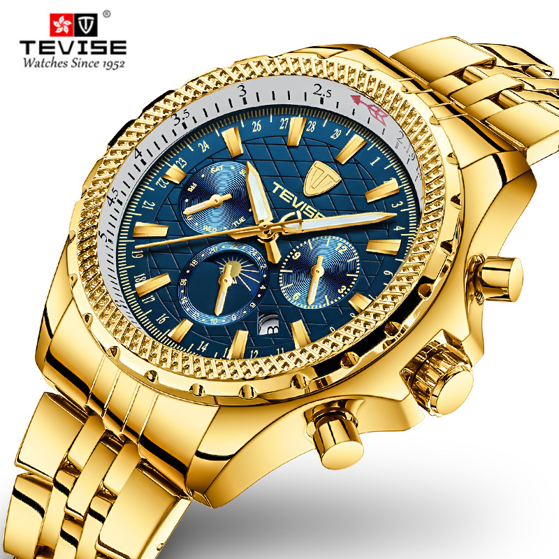 [DropShipping] TEVISE Men Automatic Watches T841B Men Watch Moon Phase Week Stainless Steel Leather Male Clock Relogio Masculino[DropShipping] TEVISE Men Automatic Watches T841B Men Watch Moon Phase Week Stainless Steel Leather Male Clock Relogio Masculino