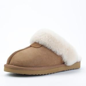 Image 5 - INOE kożuch zamszowe futro naturalne podszyte kobiety kapcie zimowe kapcie domowe kapcie wewnętrzne dla kobiety ciepłe klapki