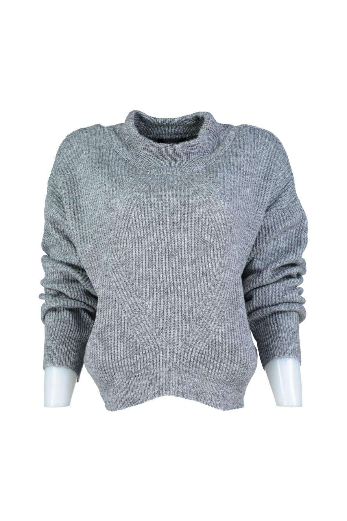 Trendyol WOMEN-Gray Mesh Detayl? Knitwear Sweater TWOAW20ZA0011