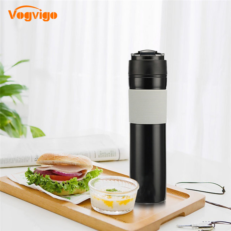 VOGVIGO 2018 New Portable French Pressed Coffee Maker 300ml Coffee Filter Bottle Hand Pressure Coffee Machine For Car Office