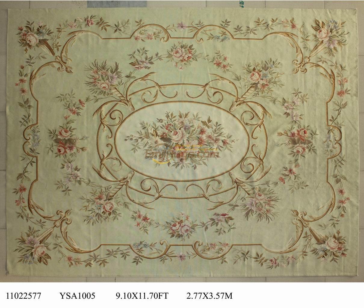 pure hand woven wool carpet french aubusson rugs in 277cmx357cm 91u0027x 117u0027 greenarea - Aubusson Rugs