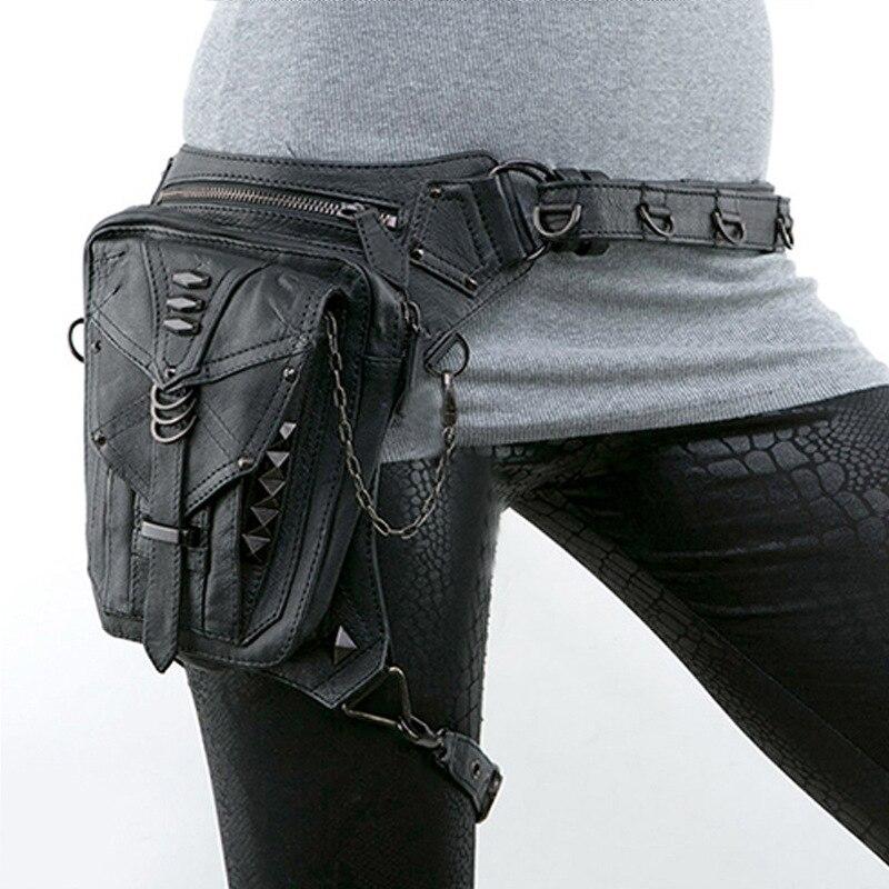 Steampunk Mini sac de taille femmes moto jambe sacs sac bandoulière coque de téléphone titulaire noir gothique cuir sacs nouveauté