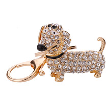 Cute Rhinestone Crystal Dachshund Dog Key Chain Women Bag Pendant Keychain Holder Key Ring Charm Female Jewelry Gifts J15 new fashion women heart rhinestone keychain pendant car key chain ring holder jewelry exquisite gifts m23