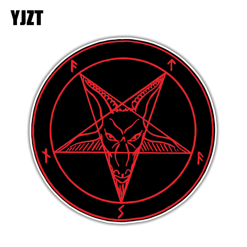 YJZT 10.2CM*10.2CM Satan Devil Demon Evil Hell Car Sticker Reflective Funny Decal PVC 12-1301