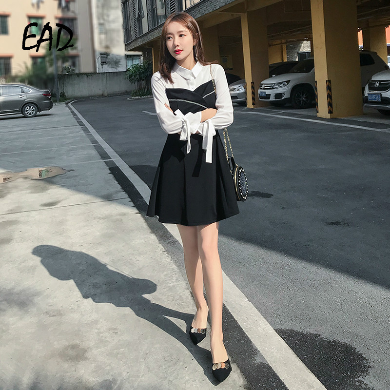 EAD Vintage Patchwork Balck and White Button Shirt Dress Women Spring Elegant Turn Down Collar Bow Sleeve Dresses Female Vestido Price $29.99