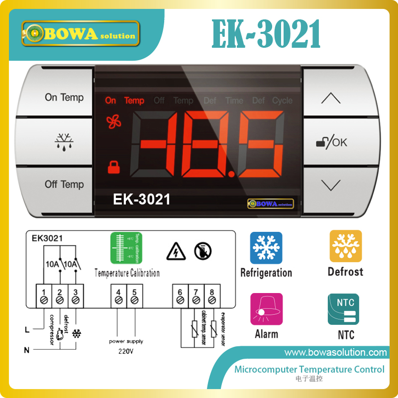 Touch control electronic thermostat has double NTC sensor, defrost controller, alarm and refrigeration function, for freezers