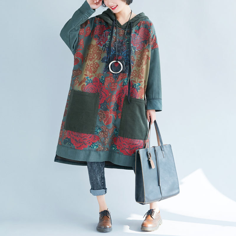 Women Oversize Hooded Dress Vintage Printed Drawstring Hooded Long Robe Japan Washed Baggy Knitted cowboy Pullovers