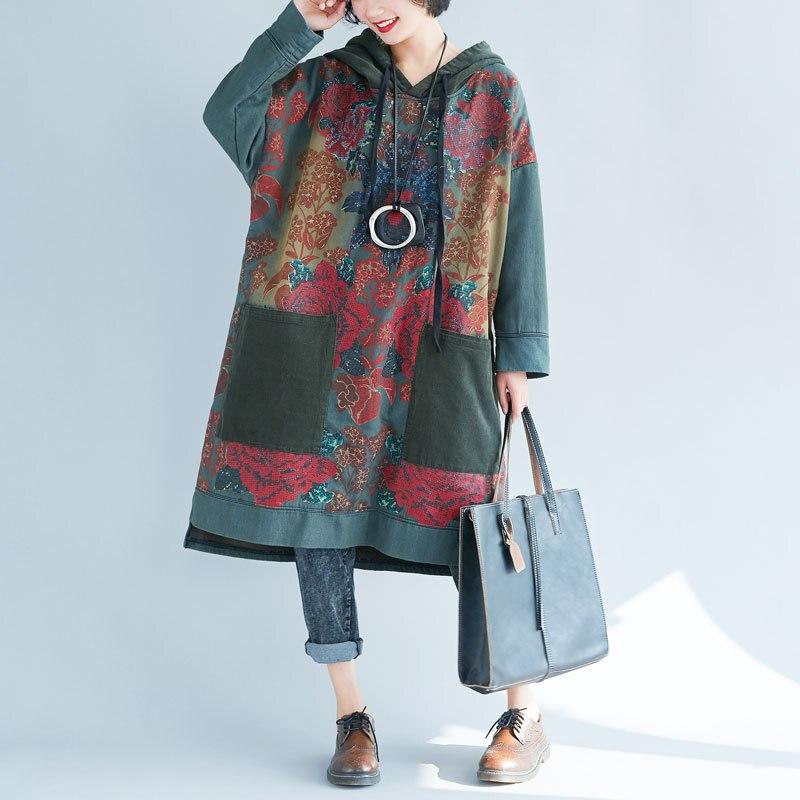 Femmes Oversize à capuche Robe Vintage imprimé cordon à capuche longue Robe japon lavé Baggy tricoté cowboy pulls YT1010-1