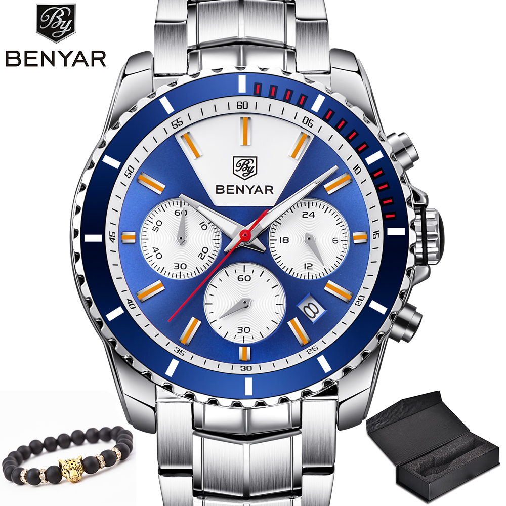 BENYAR New Quartz Watches Men Stainless Steel Blue Watch Men's Fashion Bracelet Analog Chronograph Wrist Watch Relogio Masculino super speed v0169 fashionable silicone band men s quartz analog wrist watch blue 1 x lr626