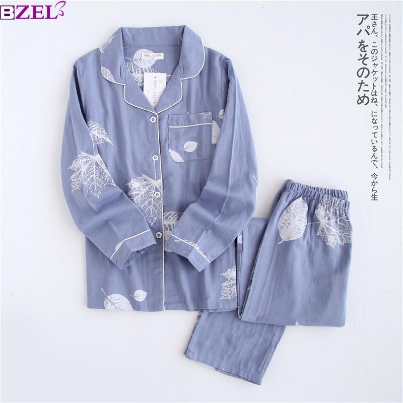 Fresh Maple Leaf Pajama Sets Women 100% Gauze Cotton Long Sleeve Casual Sleepwear Women Pyjama Pijamas Para Mujer