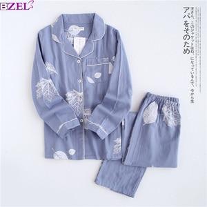 Image 1 - Fresh maple leaf pajama sets women 100% gauze cotton long sleeve casual sleepwear women pyjama pijamas para mujer