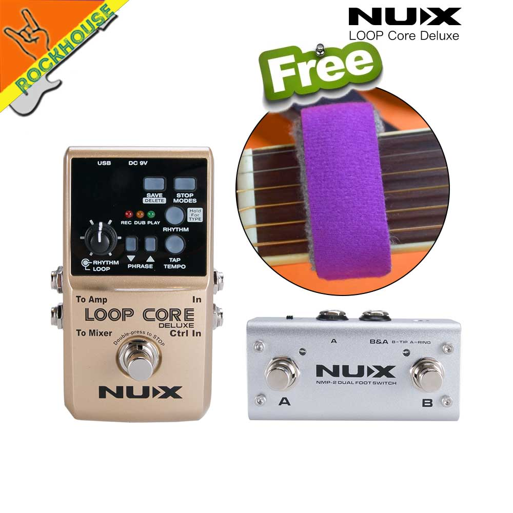NUX Loop Core Deluxe Guitar Effects Pedal Loop Station 8 Hours Looping Time Built-in Drum Patterns with Pedal Switch True Bypass nux time core deluxe delay pedal different types of delays to the upmost ambience