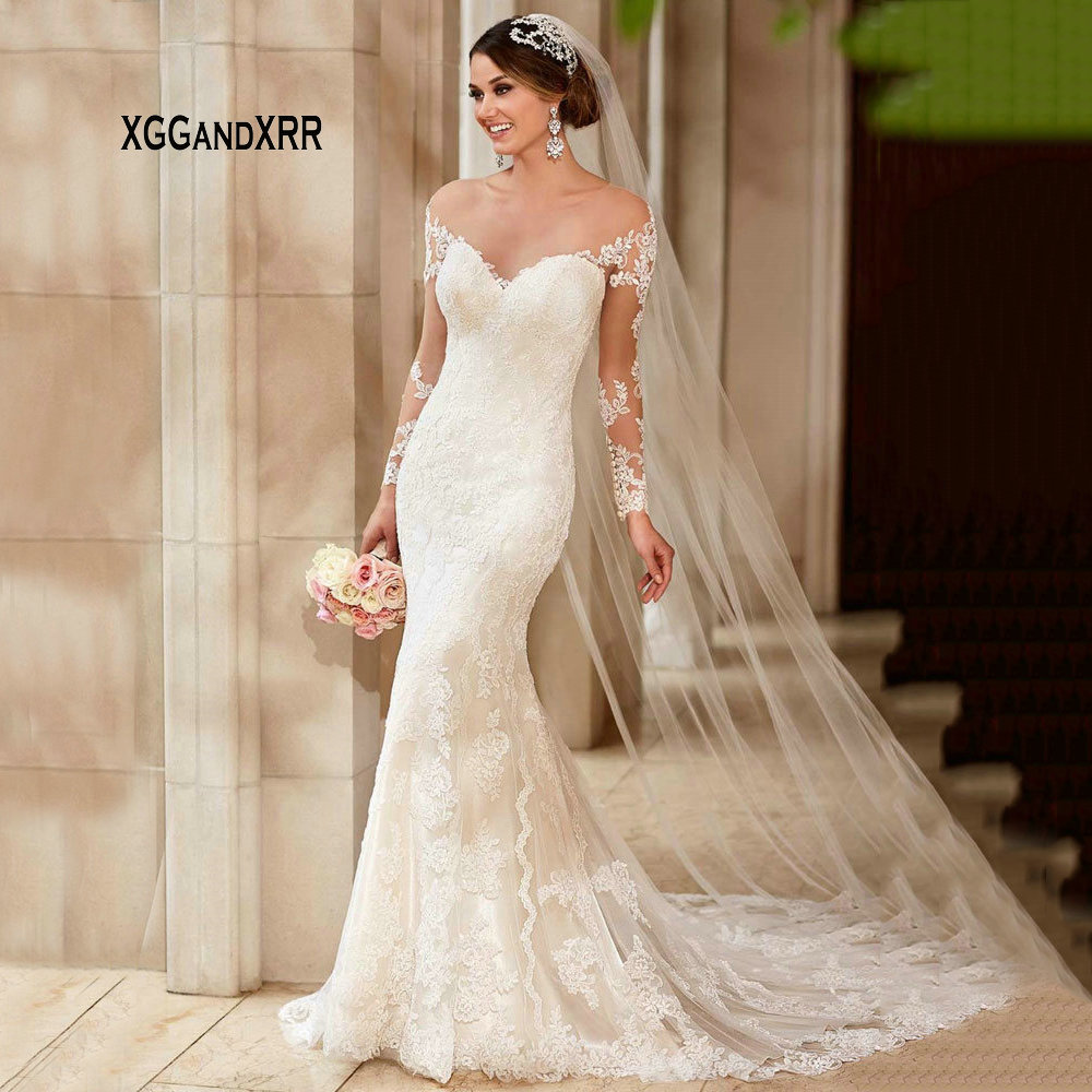 Romantic Mermaid Long Wedding Dress 2019 V Neck Off The Shoulder Long Sleeves Lace Bridal Gown Chapel Train Formal Bride Dress