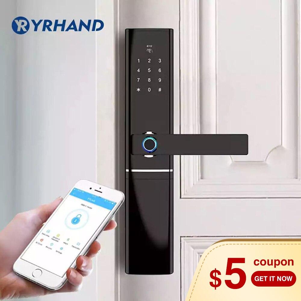 Wi-fi-отпечаток пальца дверной замок, водостойкий электронный дверной замок умный биометрический замок на дверь умный замок отпечатков пальц...