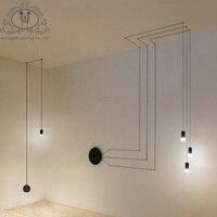 NOOSION LED Geometric Lines Pendant Light Iron Vintage Pendant Lamp For Home Lighting Rope Lampen Retro