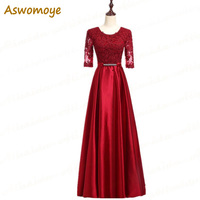 Aswomoye Half Sleeve Evening Dress 2018 Appliques A Line Prom Dresses Party Dress of the day Floor Length robe de soiree