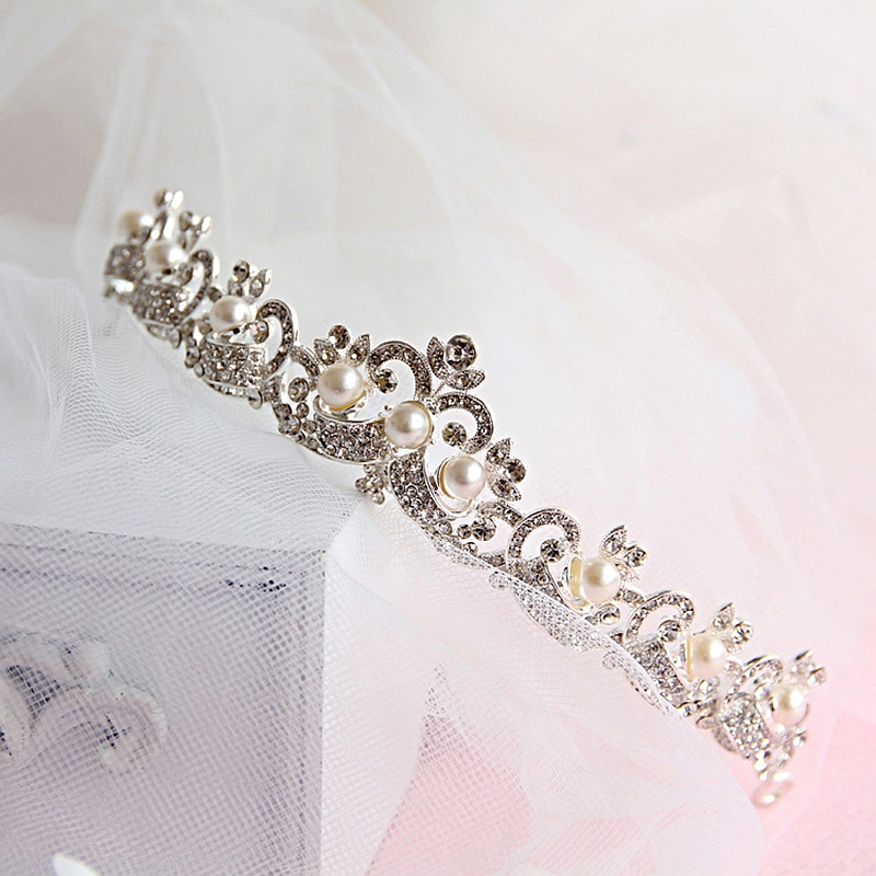 Quality Simulated-pearl Rhinestone Crown Marriag Accessories Wedding Jewellery Women Gifts Elenght Tiaras 2018 New Fashion Hot