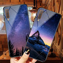 Glass shell For Samsung galaxy A7 2018 A750 Beautiful starry sky dream picture tempered glass phone case