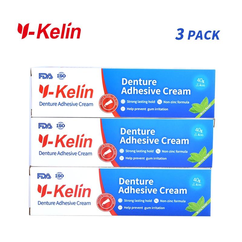 Y-Kelin Denture Adhesive Cream 120 gram (40g*3 packs) Strong denture adhesive denture glue prosthesis glue removable dentures