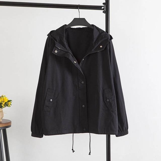 2016 New Autumn Style Women Hooded Jackets Casual Loose Plus Size 3XL Basic Jackets Black Green Pink KK1302