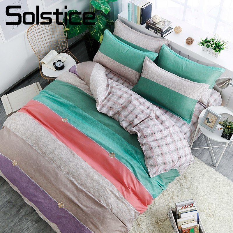 Solstice Home Textile Simple Nordic Color Stripe Cyan Duvet Cover Pillowcase Bed Sheet Kid Teen Adult Boy/Girl Bedding Linen Set