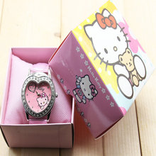 906ba3dbe Hello Kitty watches girl KT cat love child watches in box free shipping  1pcs/lot
