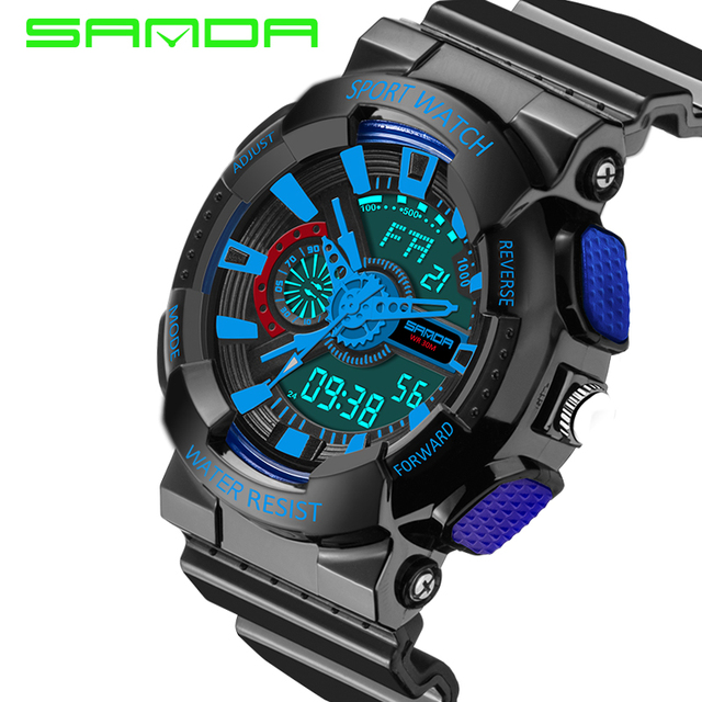 SANDA Mens Sports Watches Top Brand Luxury Dive Digital LED Military Watch Men Fashion Casual Electronics Wristwatches Clock Men